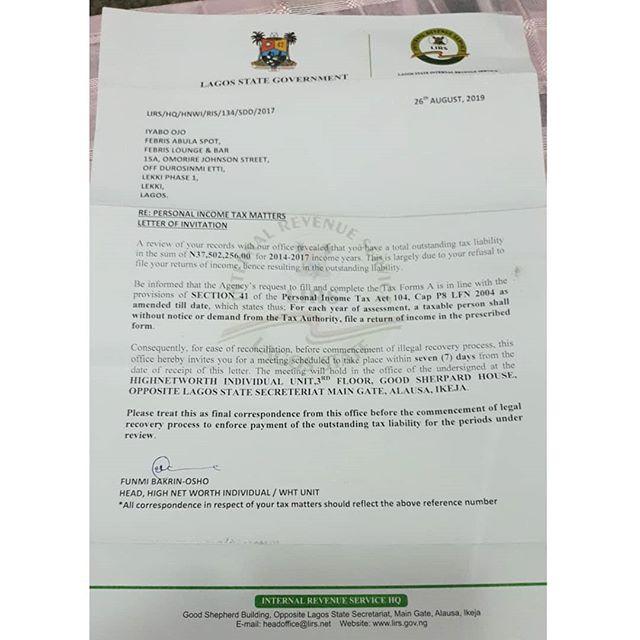 Iyabo Ojo served tax demands