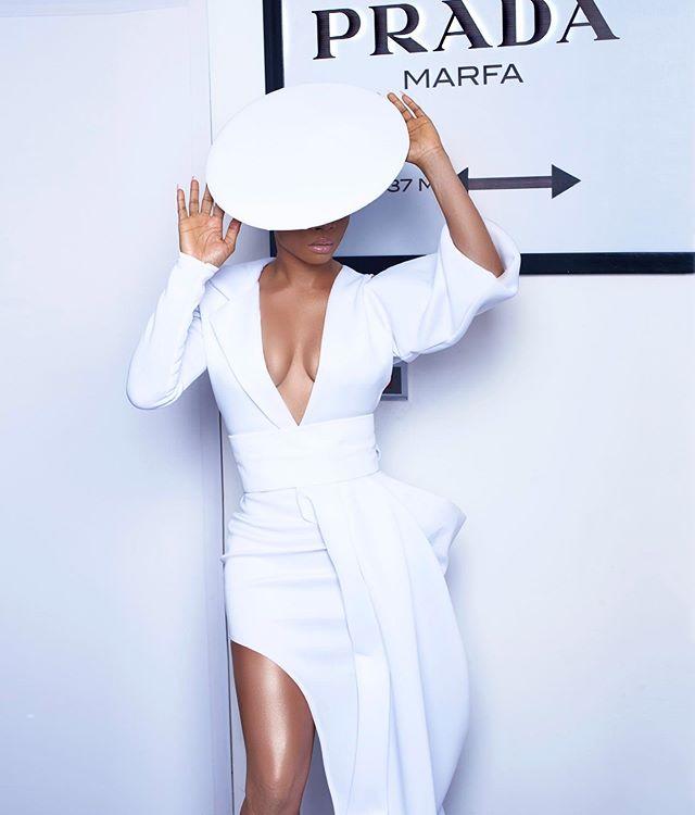 Toke Makinwa white costume