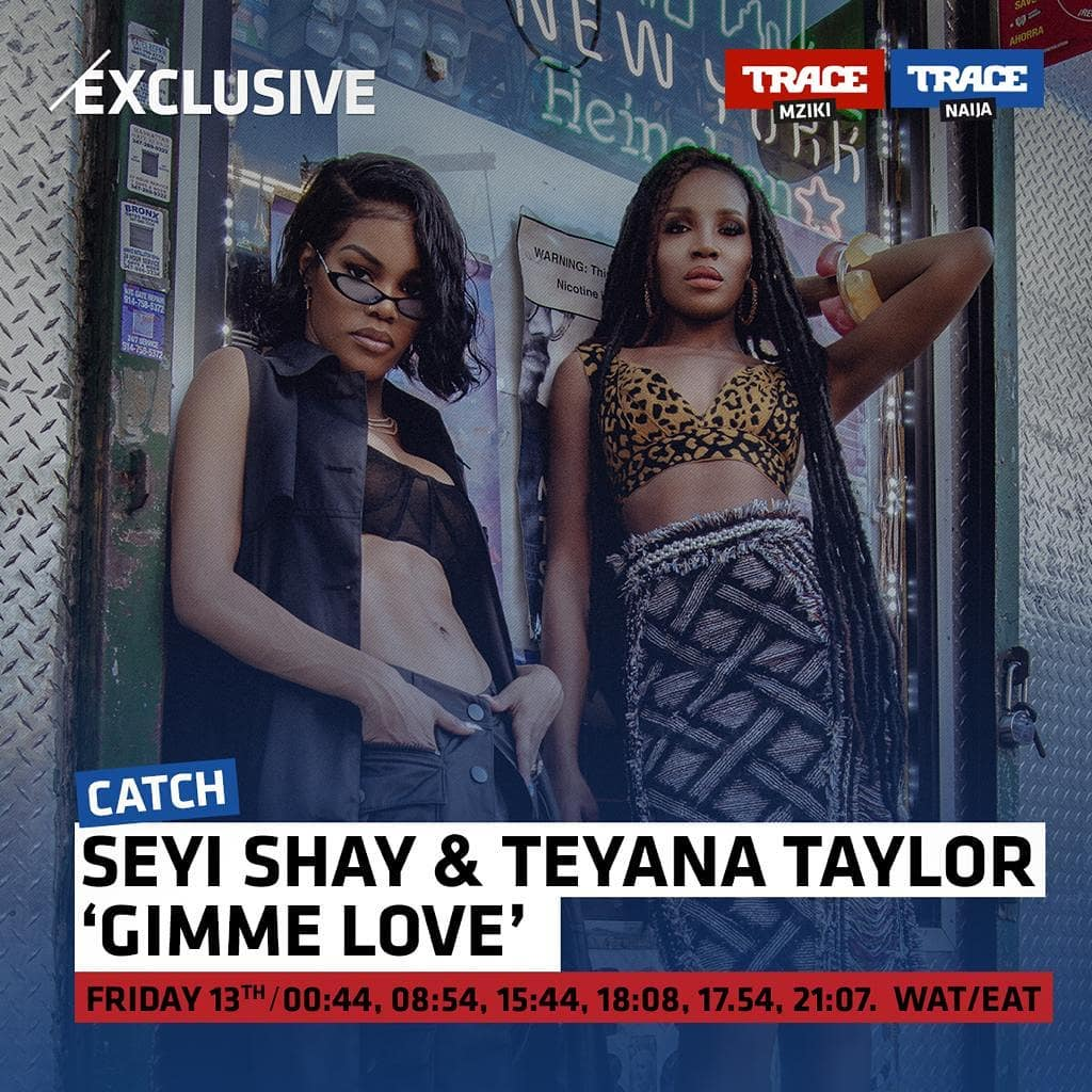 Seyi Shay's New song Gimme Love (remix) with Teyana Taylor reaches 1 million YouTube views in 48 hours