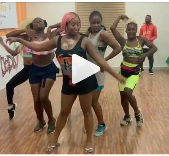 DJ Cuppy doing dance rehearsal