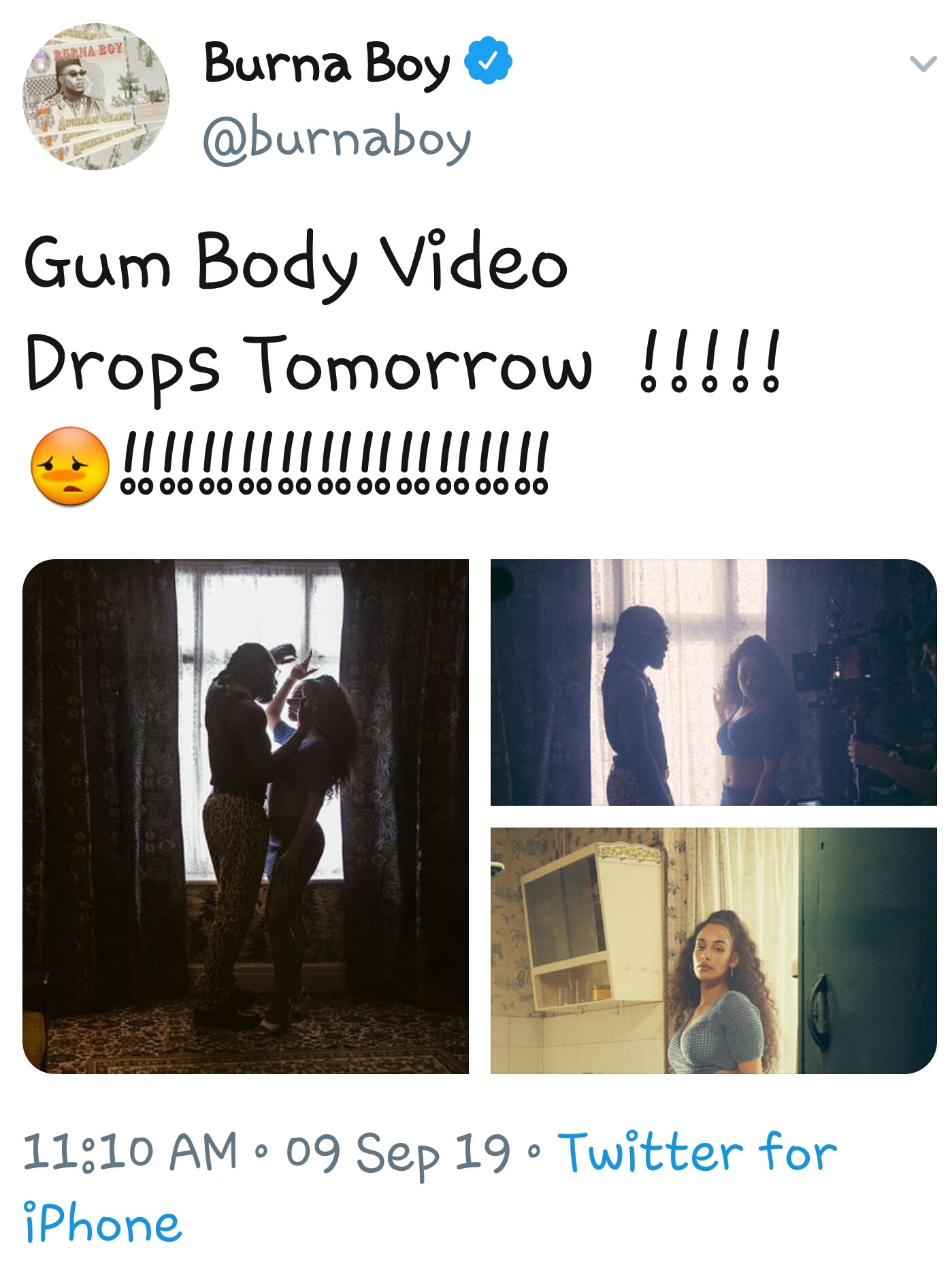 Burna Boy set to drop Gum Body video tomorrow