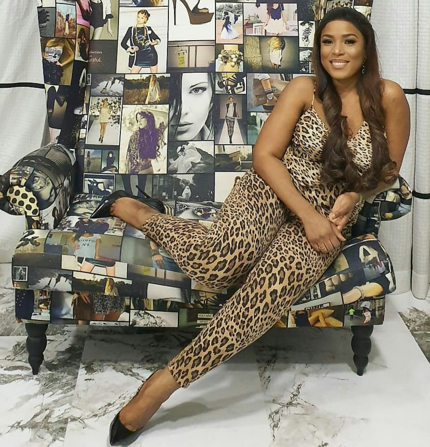 Billionaire Blogger, Linda Ikeji Goes Braless In Leopard Print Jumpsuit,sends positive message to all