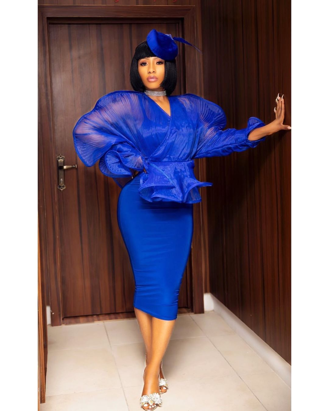 Mercy Eke dazzles her fans rocking a sexy Blue gown