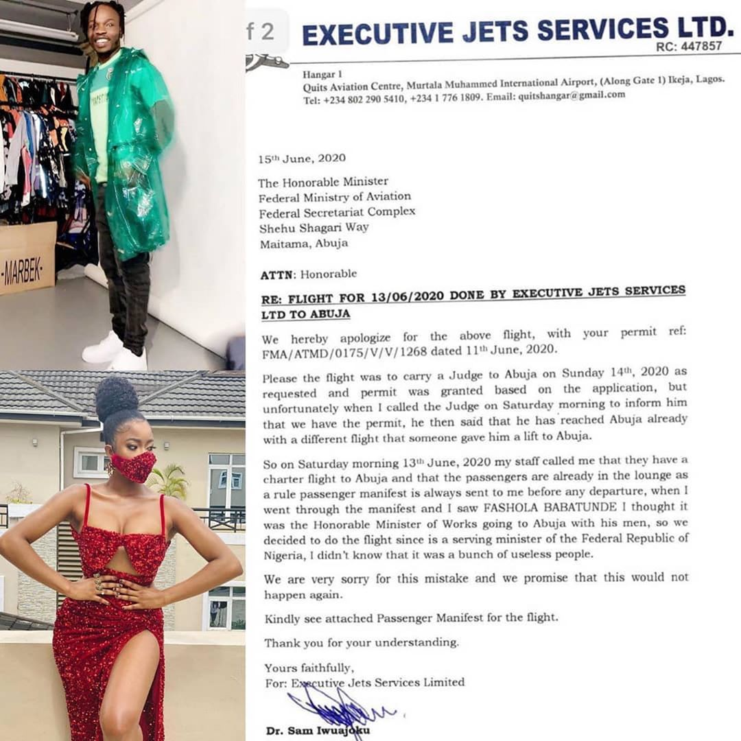 Executive Jet apologize for flying Naira Marley