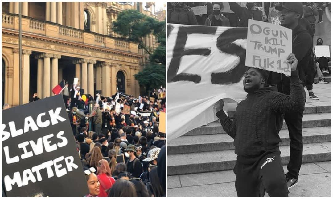 'Ogun k!ll Trump' – Nigerian man protest against racism in a bizzare way (Photo)