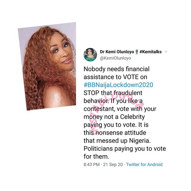 #BBNaija: Vote with your money not celebrities paying you to vote – Kemi Olunloyo blast fans